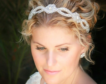 Lola  bridal headband,  rhinestone headband, wedding headband, bridal hair accessories, bohemian bridal headband