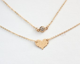 Sparkle Tiny Diamond CZ Necklace , 14K Gold Filled Cubic Zirconia Necklace , Simple Layering Necklace , Dainty Gold Necklace , Wedding Gift