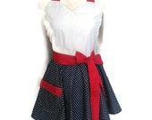 Sweetheart Flirty Aprons for women, sexy apron, pin up apron, Blue White Polka Dots skirt, Red Ties, personalization available, cute aprons