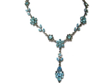 blue floral rhinestone lariat necklace, choker necklace, wedding bridal, prom, teens, special events, easter