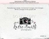 Photography logo hand drawn logo camera logo watermark business branding by princessmi  1201-4