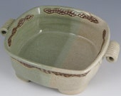 Square serving Bowl carved green and cream