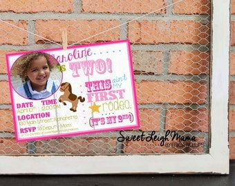 CUSTOM Western Themed Birthday Party Invitation (for Cowgirls or Cowboys) - Western - Rodeo - Pony Party - This Ain't My First Rodeo