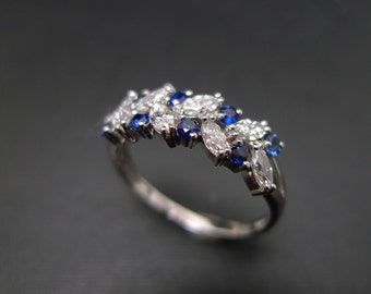 marquise ring diamond wedding band blue sapphire ring in 14k white gold marquise - Marquis Wedding Ring
