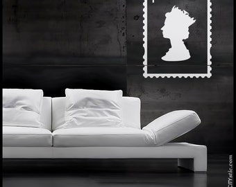 ENGLAND - WALL DECAL : British First Class Stamp with Queen Elizabeth silhouette inside. Queen sticker