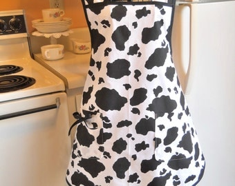 Cow Print Vintage Style Full Apron MADE TO ORDER