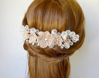 Beaded Flower Wedding Hair Comb in Champagne Pink and White, floral hair piece for brides and bridesmaids, flower hair vine