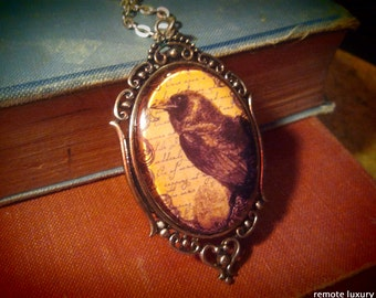 Crow necklace, Raven cameo jewelry, Victorian Gothic steampunk pendant, nevermore Gypsy wiccan pagan bride, Blackbird on vintage parchment