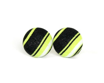 SALE Striped stud earrings - black lime white button earrings - tiny fabric earrings - bright yellow green earrings