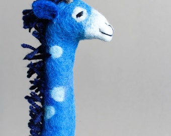 Felt Giraffe - Abimbola . Art Puppet, Safari animal Marionette Stuffed Animals Felted Toy for kids room decoration blue ultramarine.