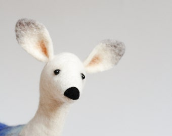 Helmina - White Doe,  Art Puppet, Marionette, Felted Deer, Stuffed Animal, Felted Toy, woodland plush.  cream pastel snow. MADE TO ORDER.