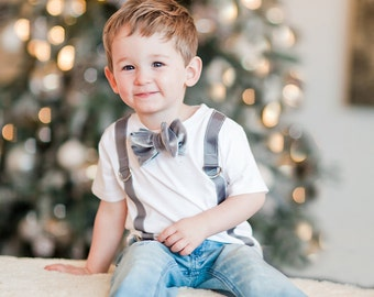 Valentine's Day Velvet Bow Tie and Suspenders Tee Tshirt. Size Baby Boy 6 Months to Boys Youth. Big Brother, dress shirt. Coming Home Set