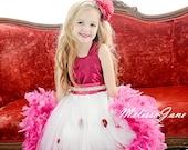 Sweet Raspberry Girls Feather Dress
