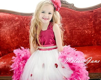 Sweet Raspberry Girls Feather Dress