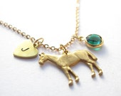 Gold Horse Charm Necklace // Initial Necklace // Birthstone Necklace // Horseshoe Necklace // Charm Jewlery //  Horse Jewelry
