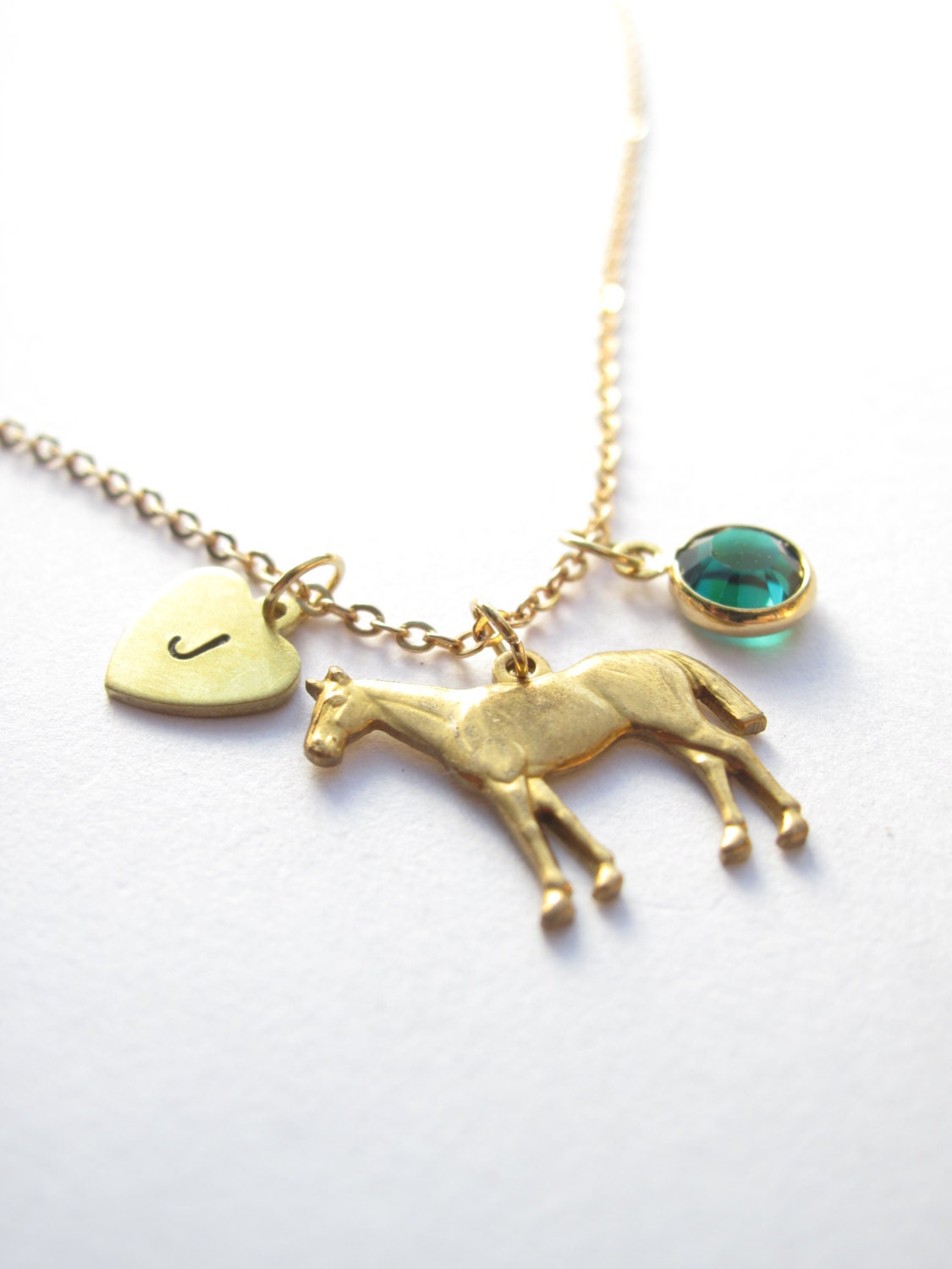 gold horse charm necklace initial necklace birthstone. Black Bedroom Furniture Sets. Home Design Ideas