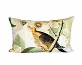 Turtledove Blossom Pillow - 12x20 14x20 14x26 16x24 16x26 Inch Lumbar Pillow - Bird Pillow - Rectangular Pillow - Linen Accent Pillow