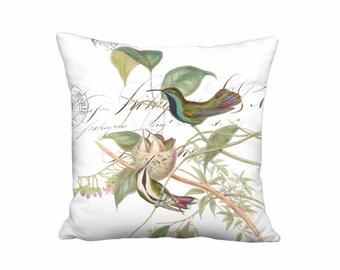 Small Pillow - Mango Hummingbird Nest Pillow Cover - French Cottage Bird Pillow - 12x 14x Inch Linen Cotton Nest Cushion Cover