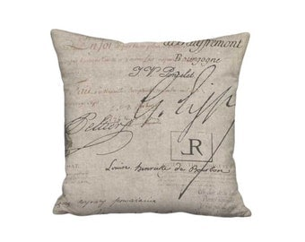 Rustic French Famous France Signature Script Pillow Cover - Rustic Pillow - 16x 18x 20x 22x 24x 26x 28x 30x Inch Linen Cotton Cushion Cover
