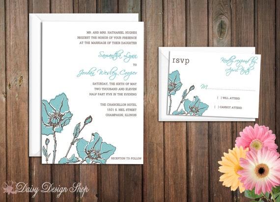 Wedding Invitation - Flower Sketch - Vintage Botanical - Customizable Colors - Invitation and RSVP Card with Envelopes