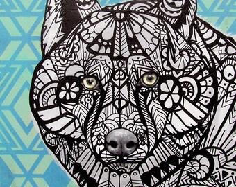 Grey Wolf Zentangle Art Print
