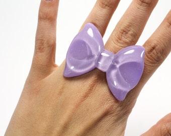 Lavender Glittered Bow Adjustable Statement Ring