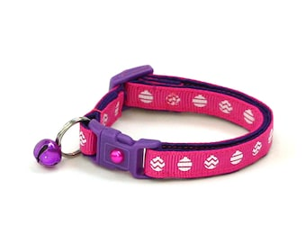 Christmas Cat Collar - Christmas Ornaments on Pink - Small Cat / Kitten or Large(standard) Size Collar