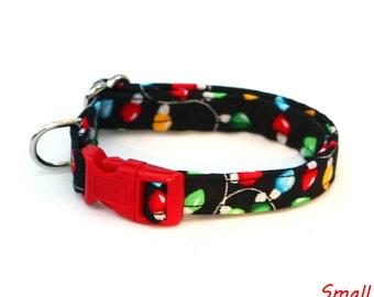 Christmas Dog Collar - Festive Christmas Lights on Black - Mini Small Medium Large XL Dog Collar