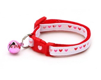 Heart Cat Collar - Hearts Aflutter - Small Cat / Kitten Size or Large Size Collar