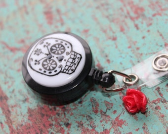 Day of the Dead Sugar Skull Badge Holder Retractable Badge Holder