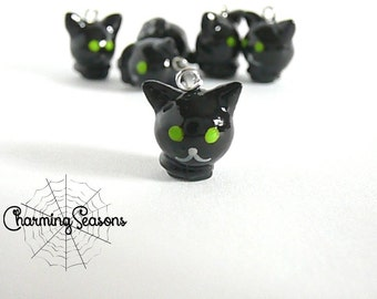Black Cat Charm, Halloween Holiday Animal Polymer Clay Kitty Jewelry