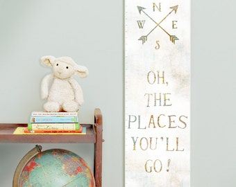 Custom/ Personalized Oh the Places You'll Go canvas growth chart with vintage map background