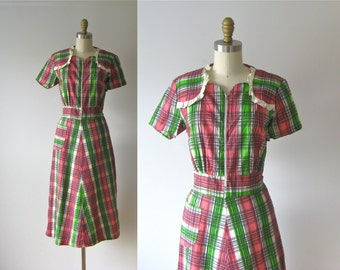 vintage 1930s dress / 30s dress / Watermelon Patch