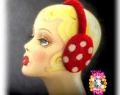 PIPSA felted earmuffs polka dot-  Made To Order