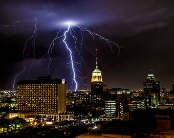 San Antonio Skyline in Texas at Night with Thunder and Lightning Storm No.1399 - A Fine Art Urban Nature Storm Landscape Photograph