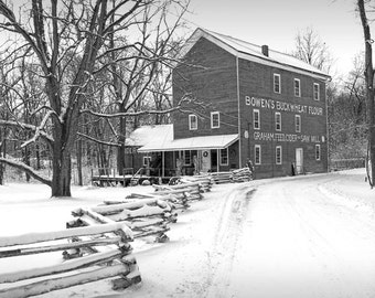 Black and White of Bowen's Cider Mill during Winter in Yankee Springs near Gun Lake in Michigan No.BW00083 A Fine Art Landscape Photograph