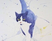 Cat Stroll Original Watercolor Animal Art Painting