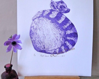 Purple Lemur Art Limited Edition Hand-Pulled Collograph Print