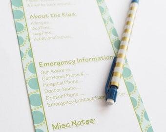 Babysitter Notes, Babysitter Checklist, Babysitter Notepad