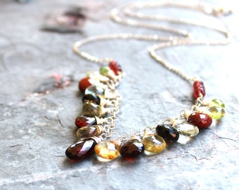 Gemstone Statement Necklace Garnet Multi Stone Briolette Bib Necklace Sterling Silver Semi Precious