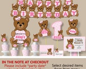 Baby Girl Pink Teddy Bear Baby Shower or First Birthday Party Decorations- Invitations, Party Favors, Banner, Invites, Centerpiece, Cake