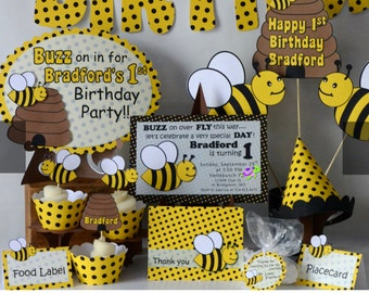BUMBLE BEE Party Package Baby Shower Honey Bee Decorations Bug Theme Birthday