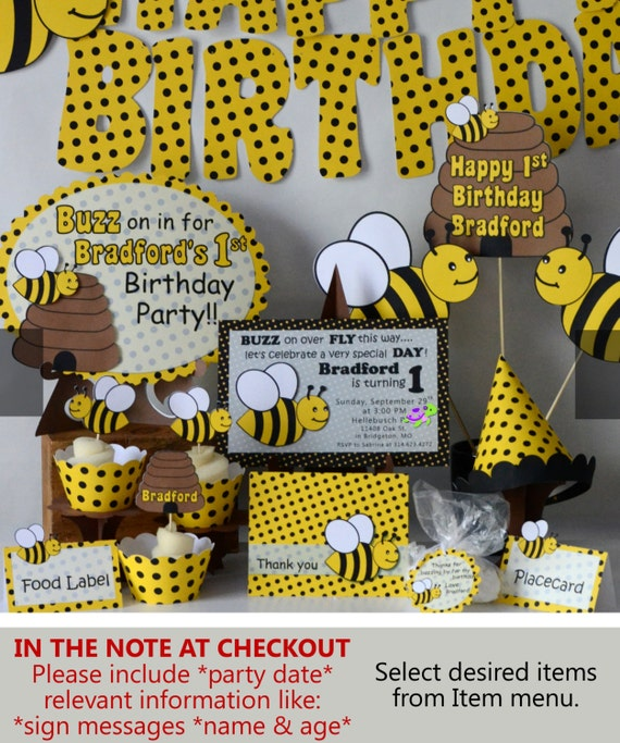 BUMBLE BEE Party Package Baby Shower Honey Bee
