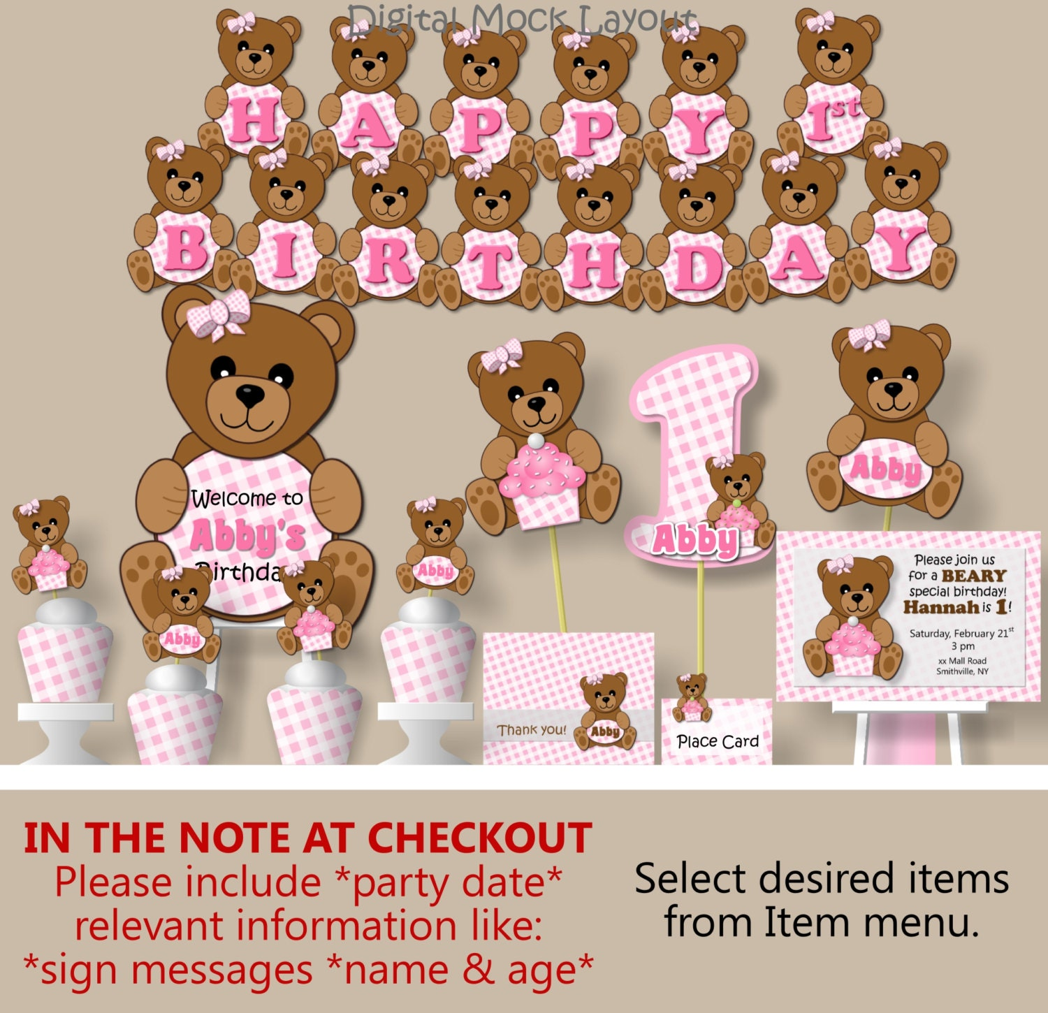Teddy Bear Picnic Birthday Party or Baby Shower Decorations