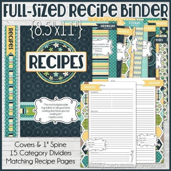 RECIPE BINDER Kit Printables FULL Size By Mycomputerismycanvas