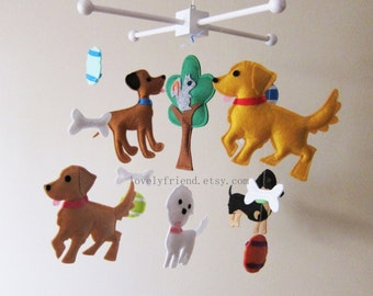 "Baby Crib Mobile - ""Dogs playing with tennis balls"" Mobile - Nursery Mobile  - Crib Mobile - Nursery room decor"