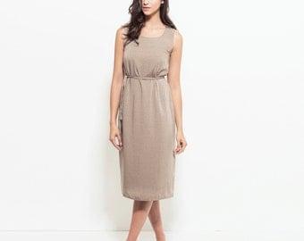 Midi printed dress, loose fit summer dress, belted Linen dress, sun dress, midi summer dress, formal sleeveless dress, day to night dress
