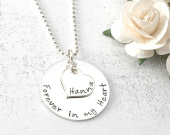 Personalized necklace, heart with name, remembrance