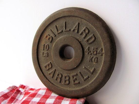 Vintage Billard Barbell Dumbbell Weight Plate Cast Iron