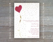 Wedding, Bridal Shower, Birthday Party, Baby Shower Invitation - Red Balloon - Digital Printable File OR Professionally Printed Cards